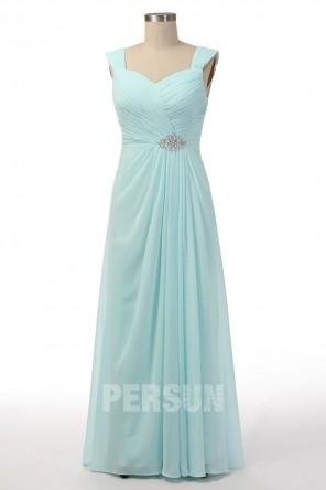 Robe de cérémonie longue mousseline turquoise claire drapée
