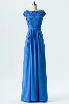 Robe de soirée bleue longue encolure en dentelle délicate