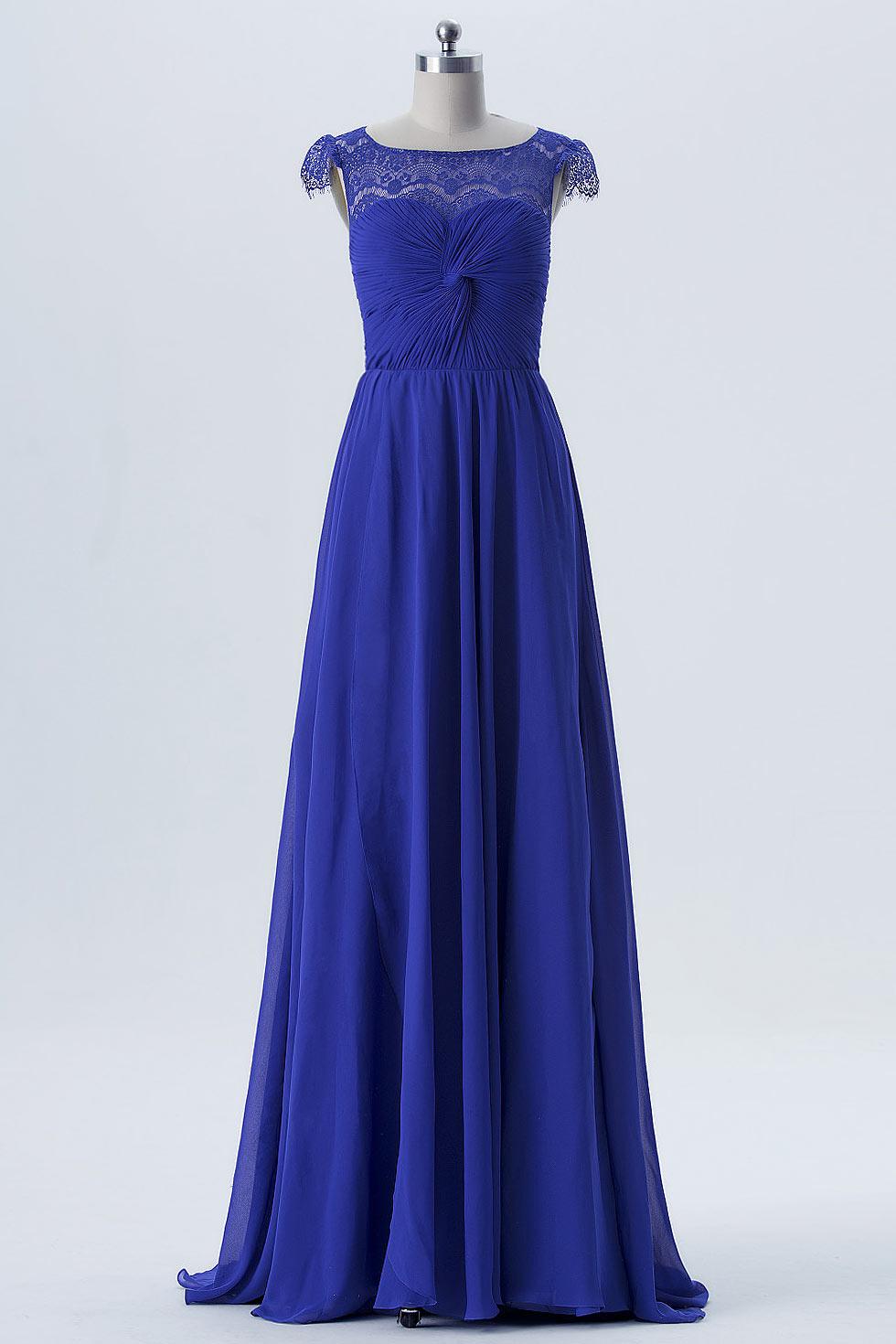Robe de soirée bleu dentelle bustier plissé 2018