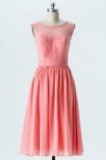 Petite robe corail encolure transparente dos v