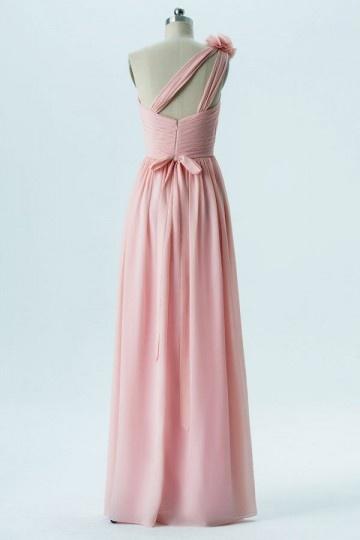 Robe Longue Asymetrique Rose Pale Epaule Fleurie Pour Demoiselle