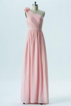 Robe rose pale mariage asymétrique orné de fleure faite à la main