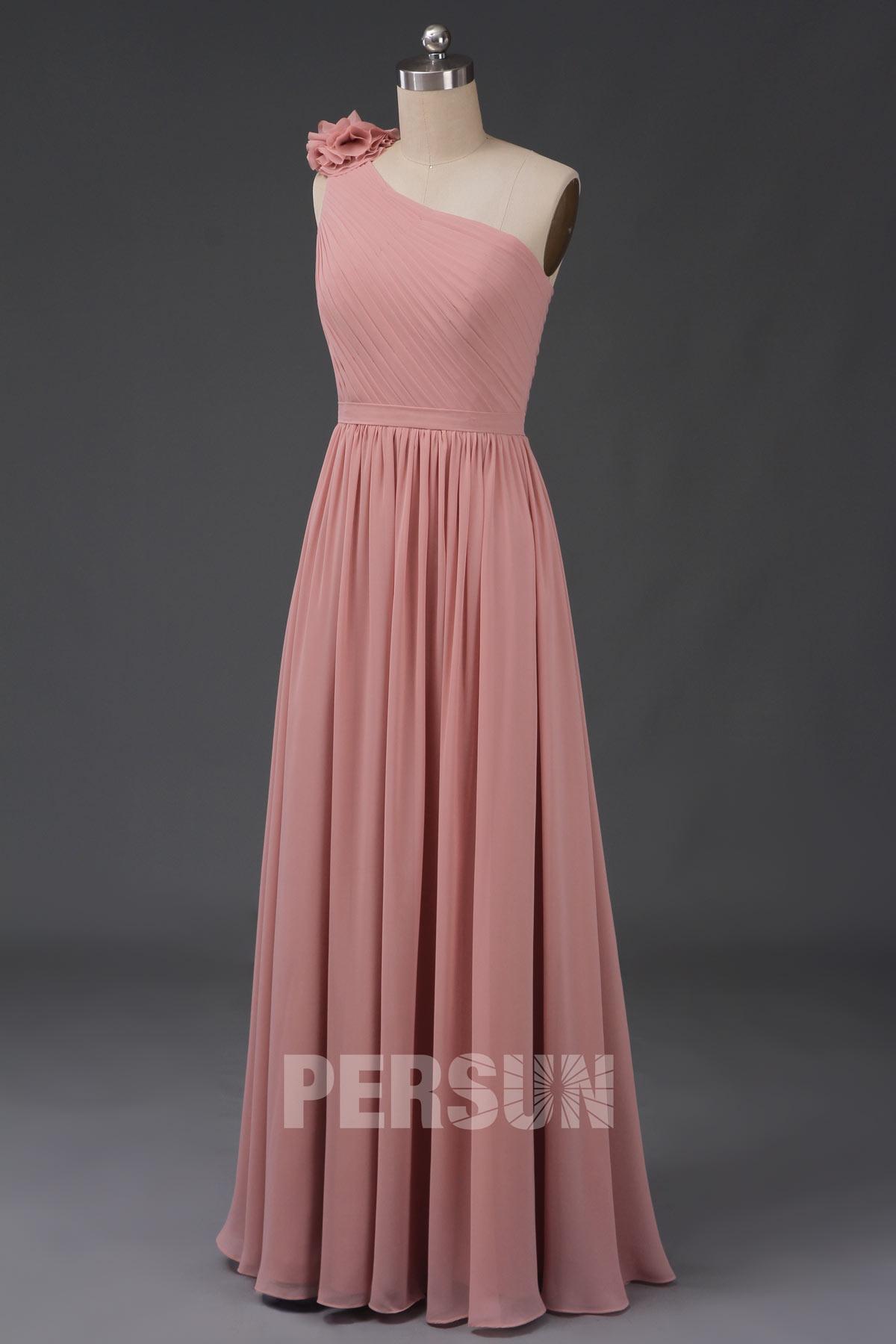 robe de soirée rose chair longue asymétrique simple embelli de fleur