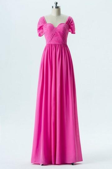 Robe de gala rose fushia longue avec mancherons