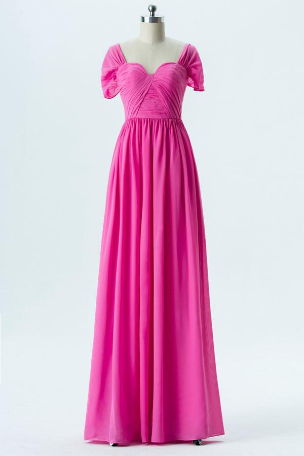 robe de soirée longue rose fuchsia plissé à mancherons