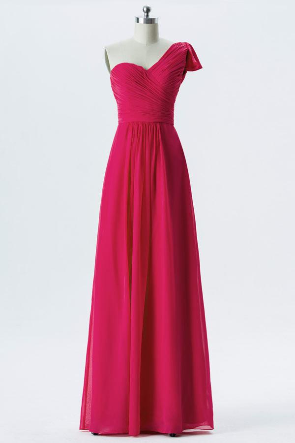 Robe rouge cerise habillée longue asymétrique pour cérémonie