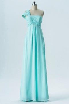 Robe asymétrique mariage bleu verte à taille empire pour femme enceinte