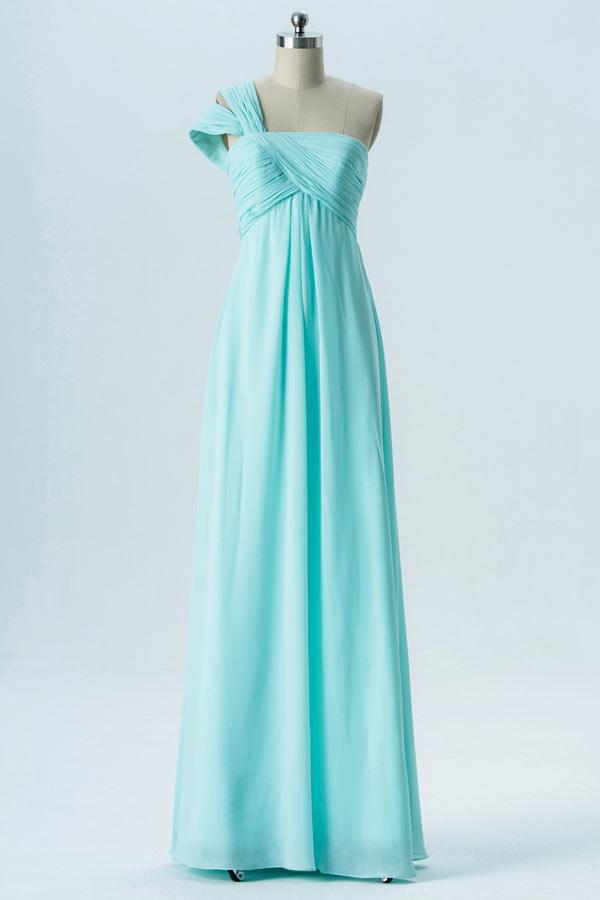 robe demoiselle d'honneur longue turquoise asymétrique bustier drapé