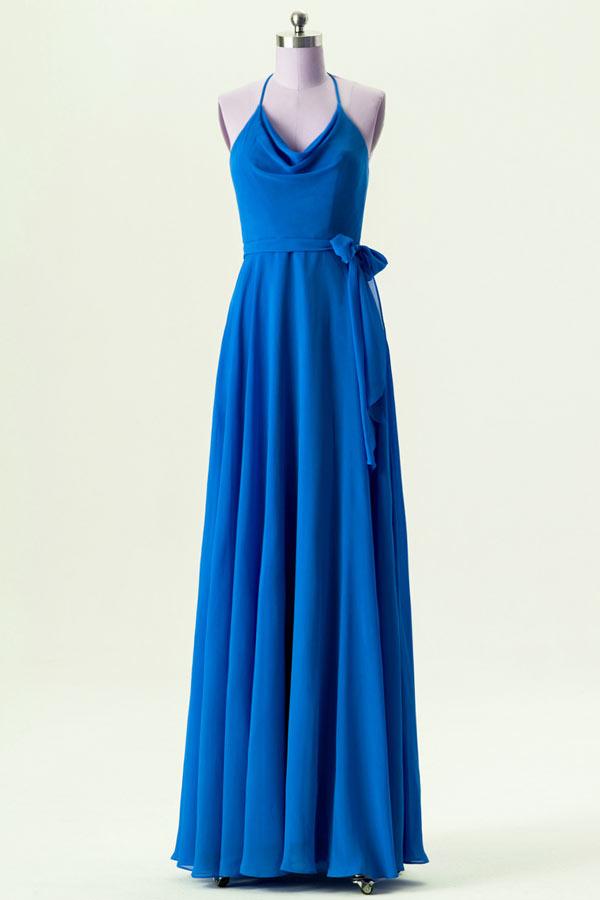 robe de soirée longue simple bleu col halter ornée de noeud papillon