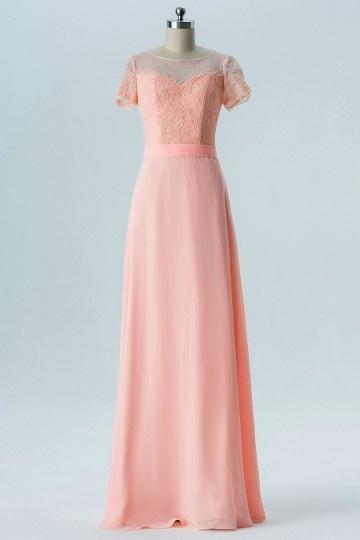 Robe orange claire longue dos transparent en dentelle pour soirée