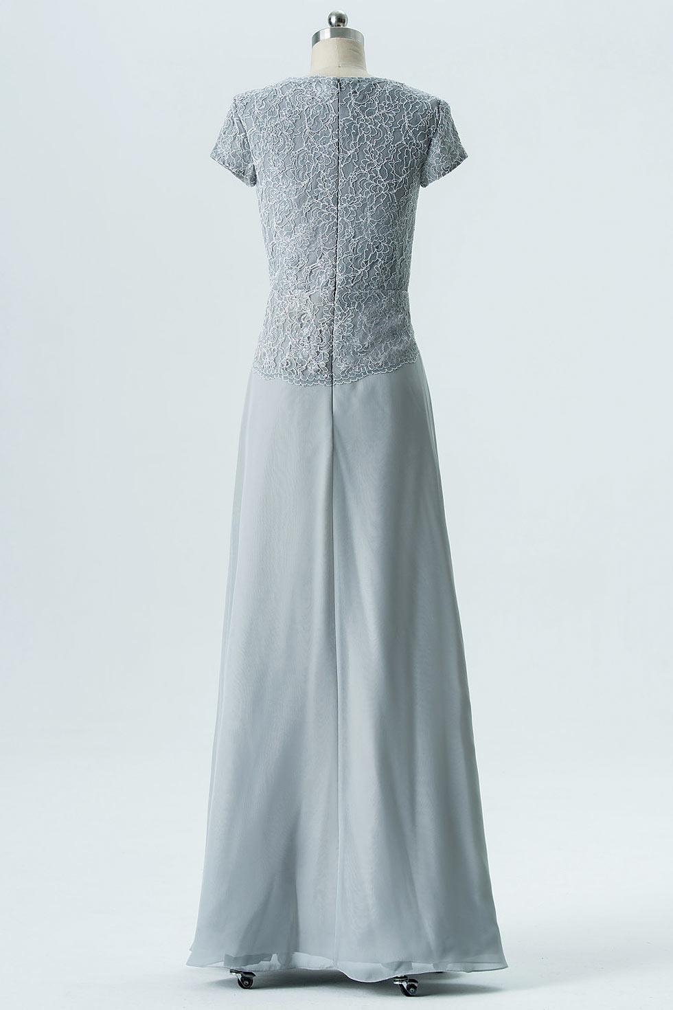 Robe cérémonie mariage argentée haut en dentelle guipure pour mère de mariée