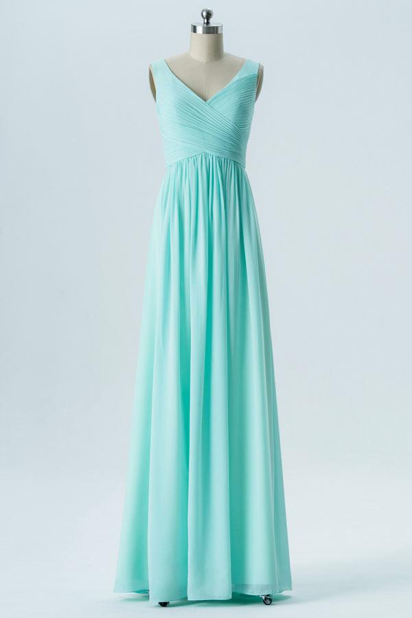 robe demoiselle d'honneur longue vert menthe col v bustier drapé