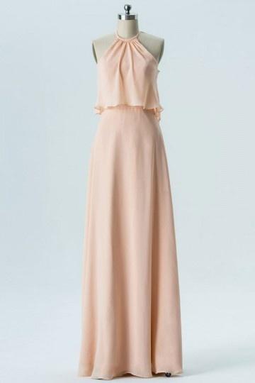 Robe couleur nude longue pour mariage col halter avec voilage derrière