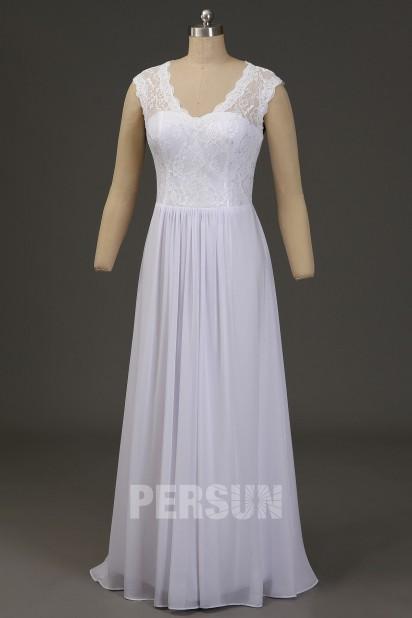 Robe de mariée simple blanche haut dentelle dos dénudé