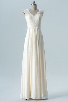 Robe de mariée simple crème haut dentelle dos dénudé