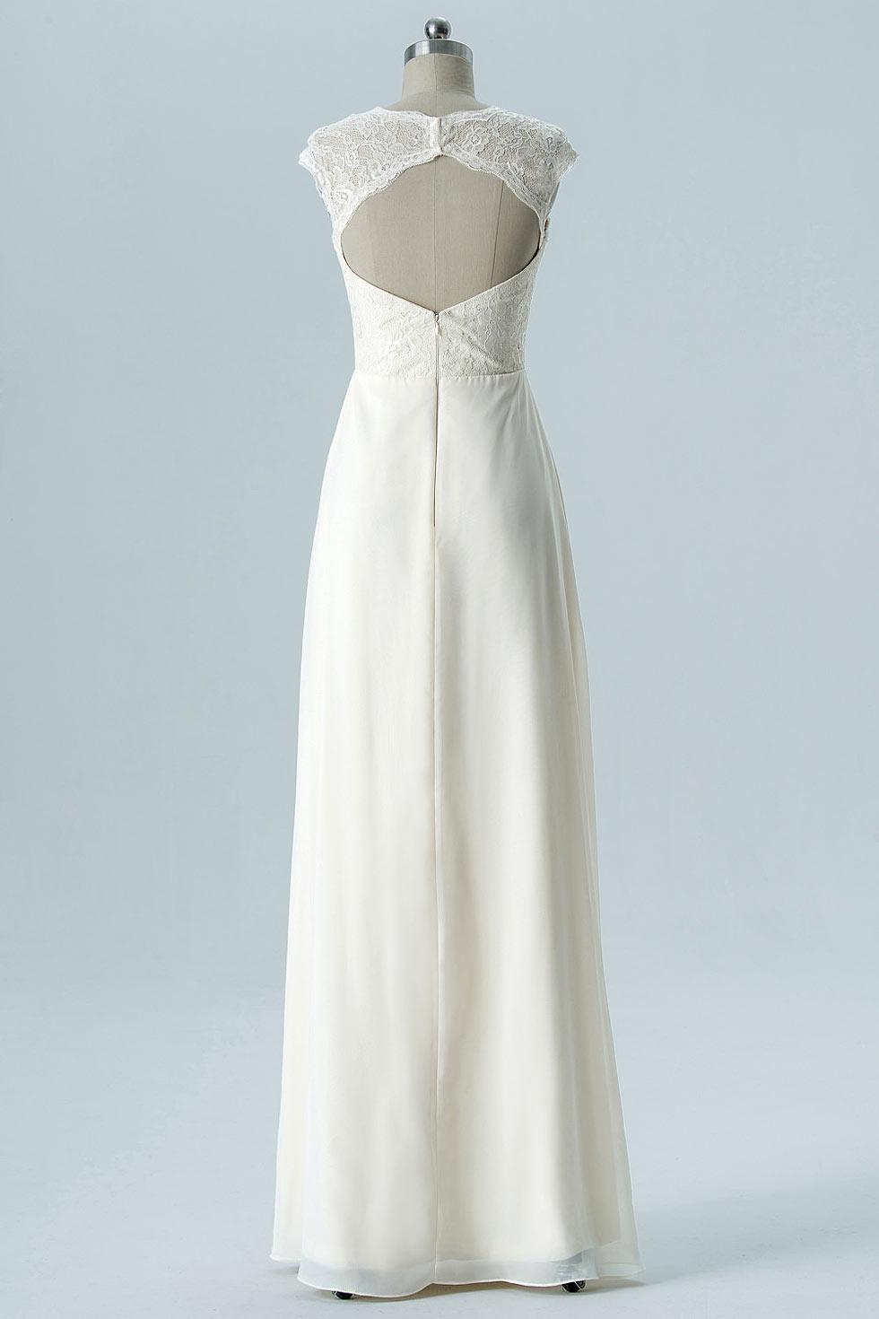 robe sans manches jaune claire soirée mariage dos découpé