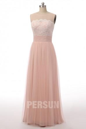Robe longue rose poussière haut dentelle encolure transparente feston