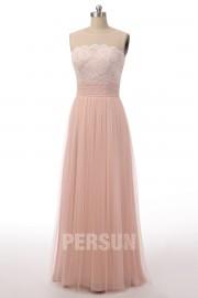 Schick rosa lang gefalten spitze Abendkleid aus Tüll