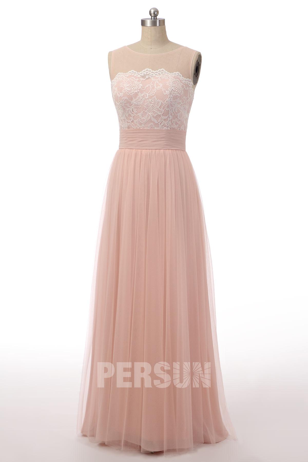 robe longue rose poussière haut dentelle encolure transparente pour témoin mariage