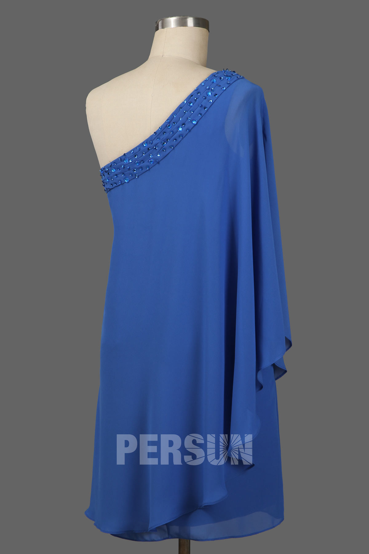 Robe de cocktail bleu courte asymétrique pailleté à voilage