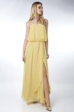 Robe jaune de soirée avec fente latérale pour femme ronde