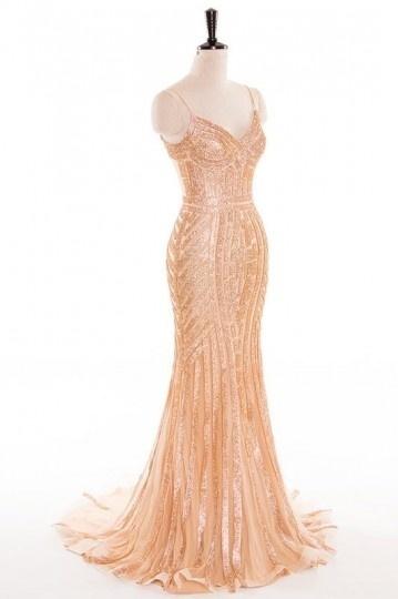 robe de soirée dorée sirène en sequin
