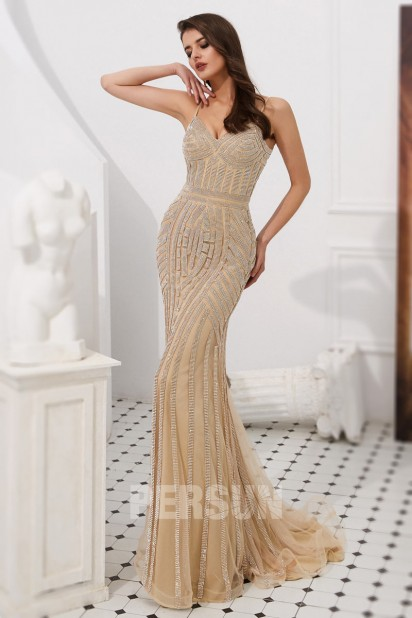 robe fourreau de bal champagne en sequin
