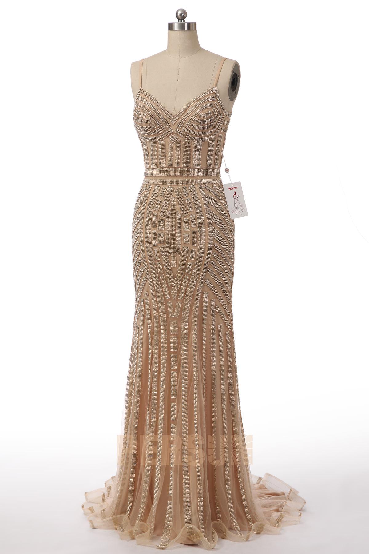 robe de soirée champagne & dorée sirène avec bretelle fine