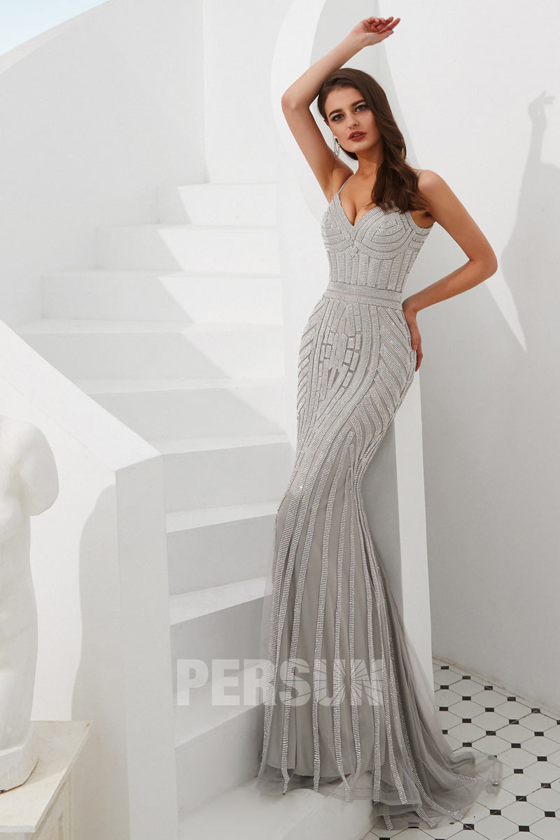 sexy robe de soirée sirène col v embelli de bijoux avec bretelle spaghetti