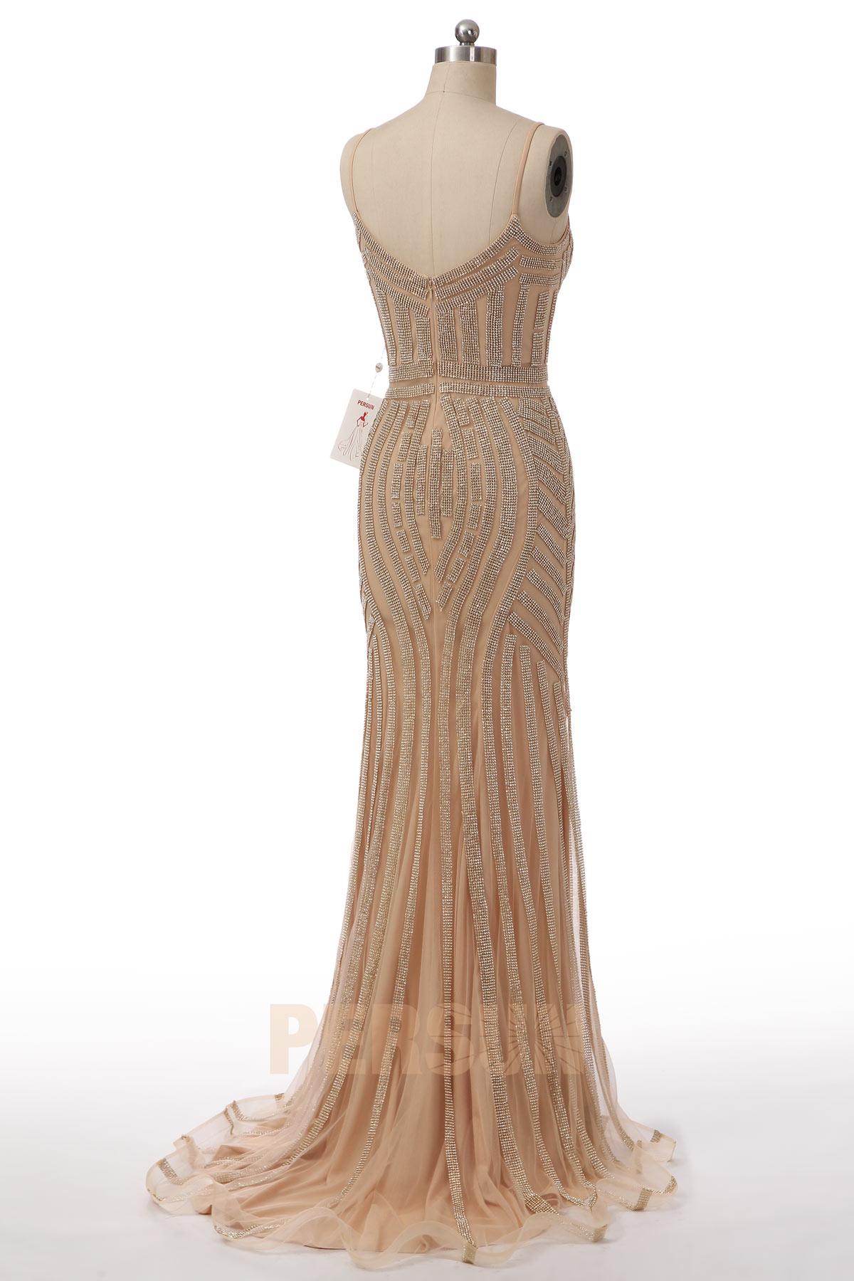 robe de soirée fourreau longue élégante à traîne chapel