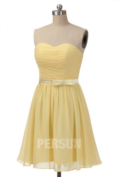 robe jaune chic pastel courte bustier coeur avec ceinture