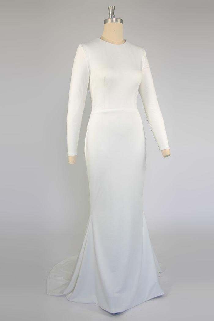 robe de mariée sirène élégante simple avec traîne à manches longue pour automne