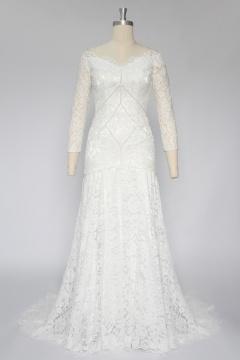 Robe de mariée manches longues en dentelle guipure perles