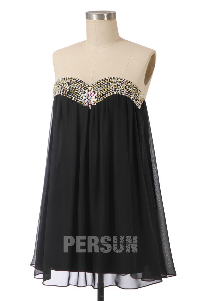 robe noire babydoll courte bustier coeur orné de bijoux