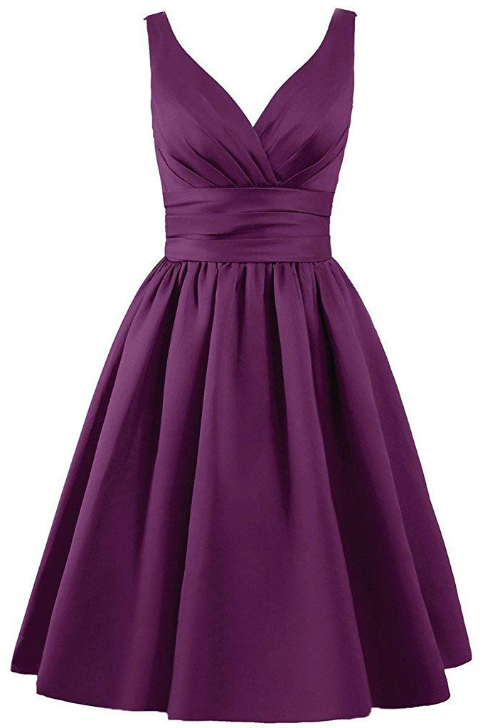 robe de cocktail simple violette cache coeur courte en satin