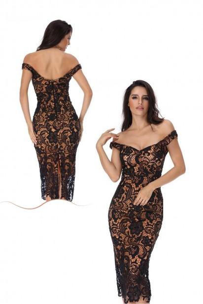 Sexy robe dentelle noir fourreau épaule dégagée à doublure bicolore