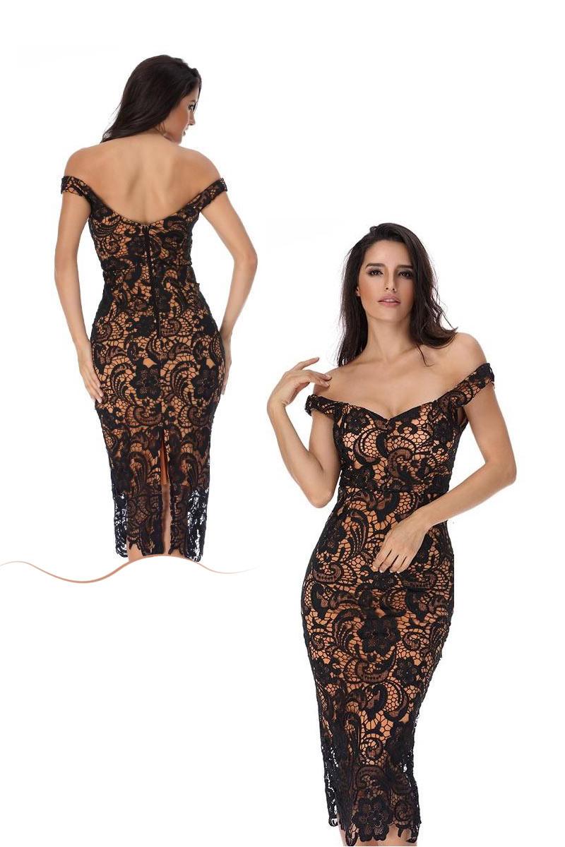robe de cocktail sexy moulante épaule dénudée doublure orange en dentelle noire