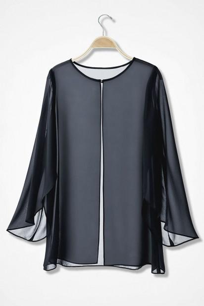 Veste longue en mousseline noir avec manche évasée