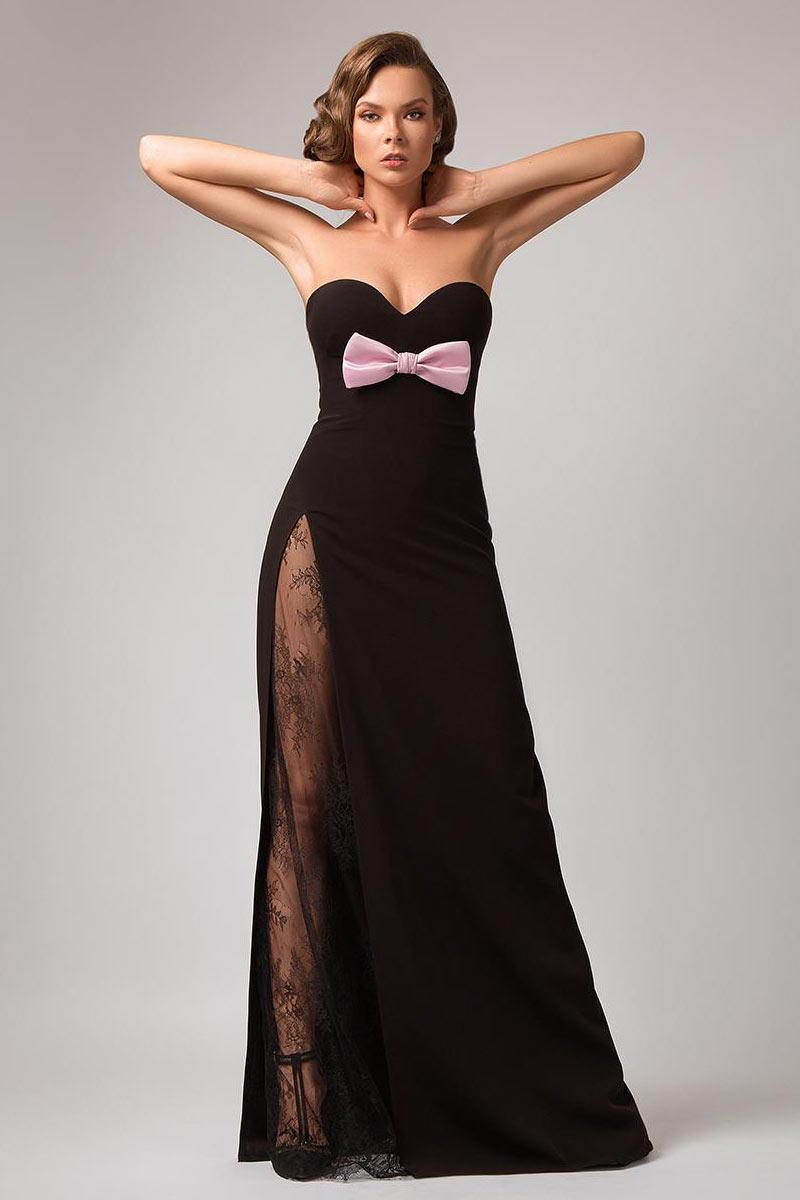 robe de cérémonie noire longue fendue avec dentelle transparente bustier ornée noeud papillon