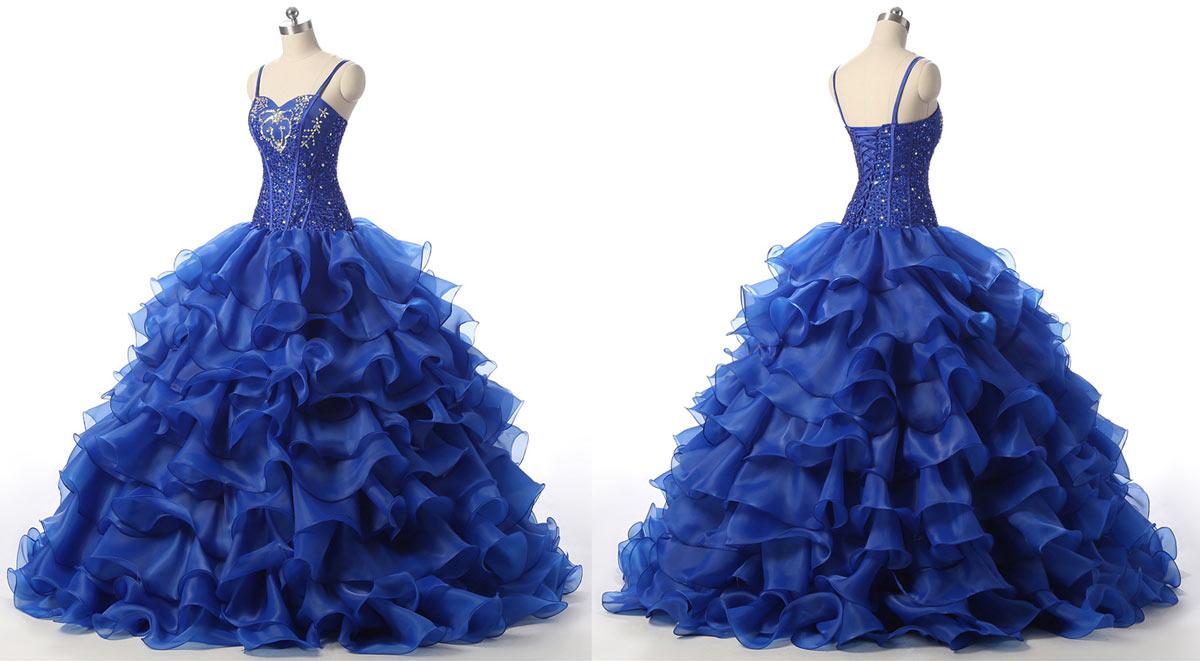 robe pour mariage bal bleu roi à jupe froufrou en volants