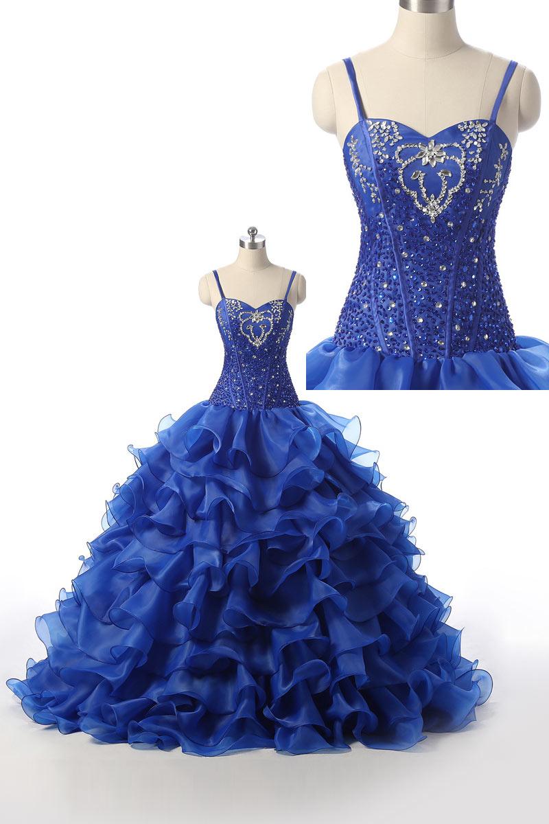 robe de soirée princesse bleu roi bustier ornée de strass et jupe à volant