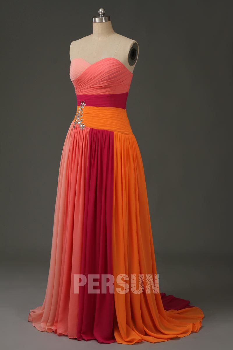 robe de bal bustier coeur bloc couleur en mousseline abricot fuchsia pasteque peche