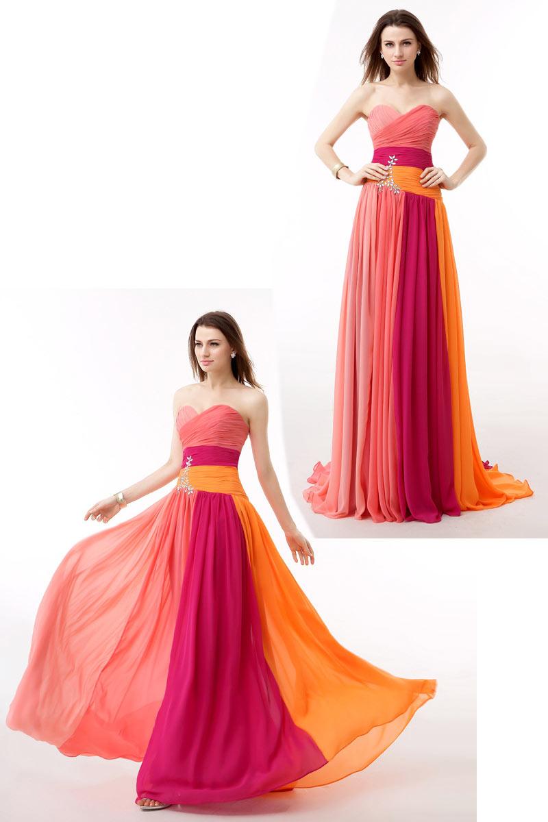 Robe de soirée bloc couleur bustier coeur plissé embelli de strass