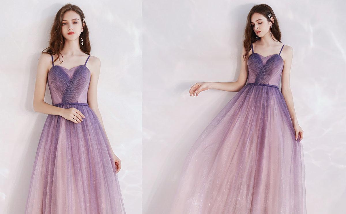 robe soirée chic longue rose dégradé pailleté à bretelles fine pour mariage