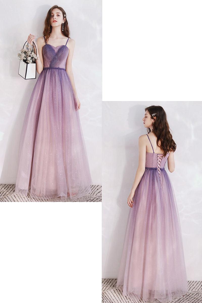 robe demoiselle d'honneur longue chic pailleté rose dégradée violette à bretelle
