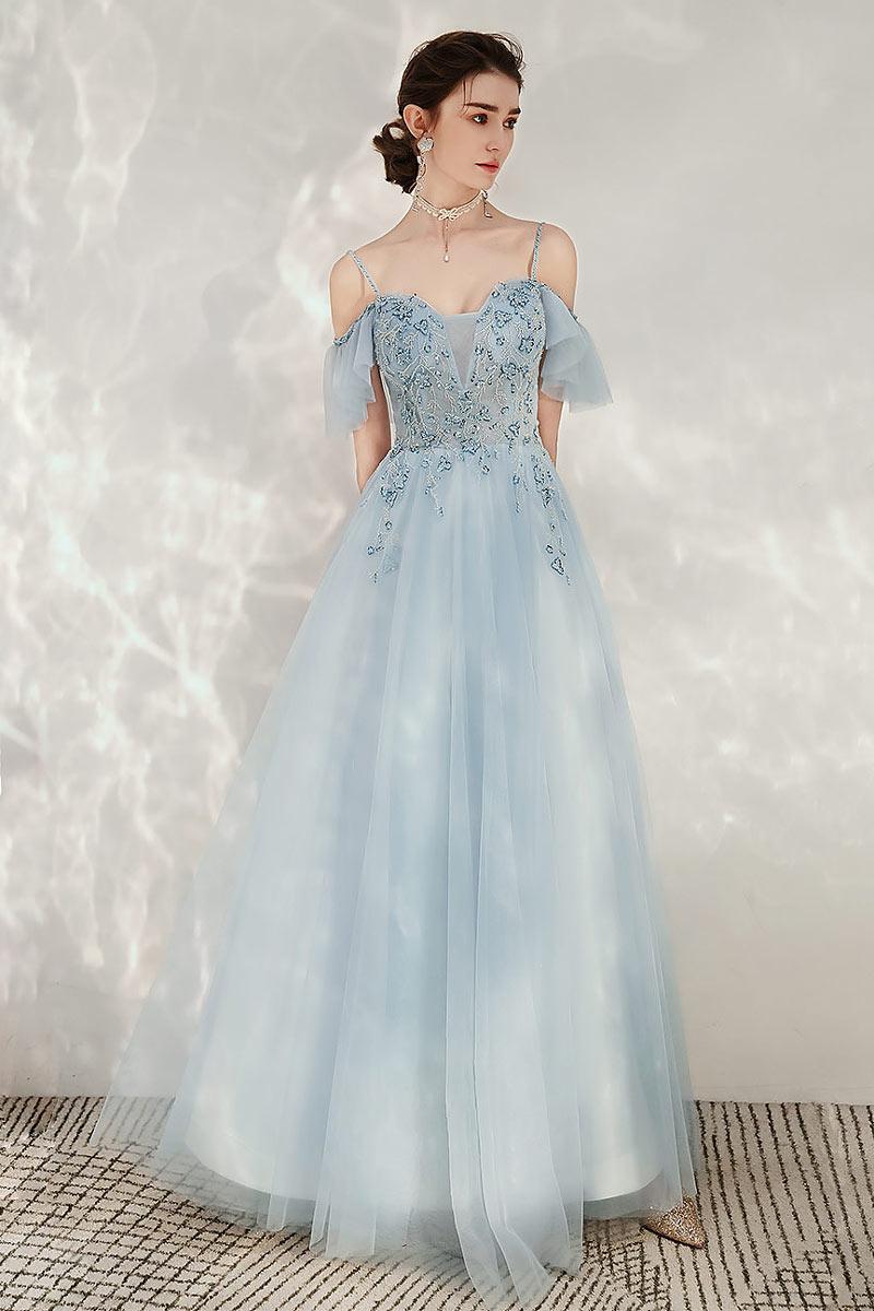 robe de bal longue bleu clair à épaule dégagé avec bretelles