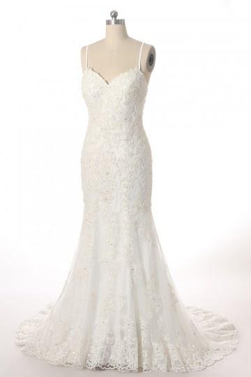 robe de mariée sirène avec bretelle fine en dentelle