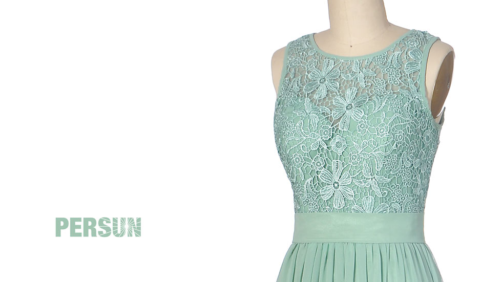Vintage robe verte jade dentelle ajourée pour 2018
