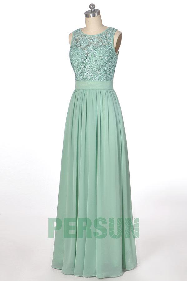 robe soirée longue vert menthe à haut dentelle pour mariage