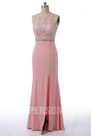 Sexy Robe de soirée / bal rose fendue à haut transparent en guipure